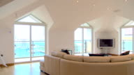WS PAN  Shot of luxury penthouse interior / Gibraltar