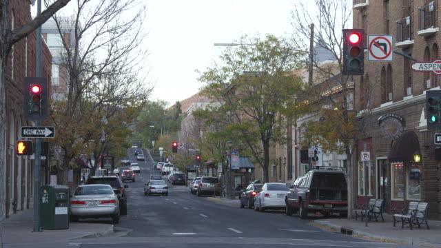 MS Shot of Main St. at dusk in small town / Flagstaff, Arizona, United States