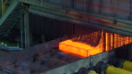 CU ZO PAN Shot of making process steel, molten steel bar at end of production / Gwangyang, Jeollanamdo, South Korea