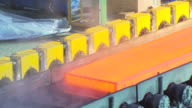 MS Shot of making process steel, molten steel bar at end of production / Gwangyang, Jeollanamdo, South Korea