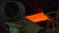 MS Shot of making process steel, molten steel bar at end of production / Gwangyang, Jeollanamdo, South Korea