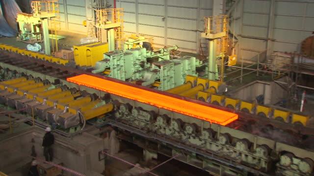 MS ZI TS Shot of making process steel, molten steel bar at end of production / Gwangyang, Jeollanamdo, South Korea