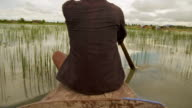 MS POV Shot of man as he rowing across flooded rice field in Puok area / Siem Reap, Siem Reap Province, Cambodia