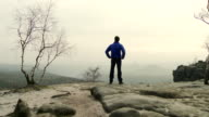 MS Shot of Man enjoying view in Elbe sandstone highlands / Near Dresden, Saxony, Germany