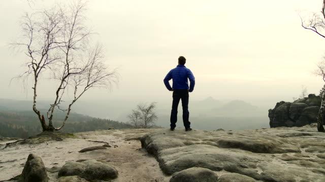 MS Shot of Man enjoying view in Elbe sandstone highlands / Near Dresden, Saxony, Germany