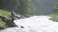 MS SLO MO Shot of man in fishing gear pulling and tossing out line into stream (fly fishing) / Yeongwol, Gangwon do, South Korea