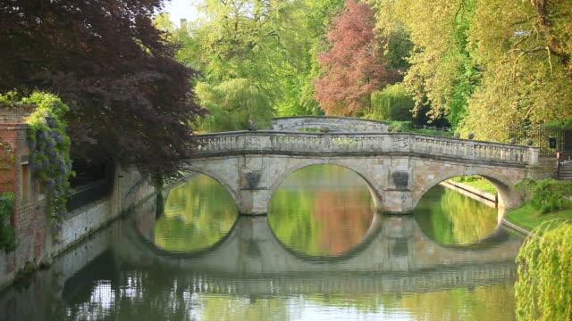 MS Shot of man walking on  bridge on River Cam behind kings College Cambridge / Cambridge, Cambridgeshire, United Kingdom