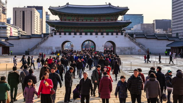 MS T/L Shot of Many spectator at Gyeongbokgung (royal palace located in norrn Seoul) / Seoul, South Korea