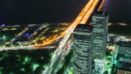 MS T/L Shot of mapodaegyo intersection at night / Seoul, South Korea