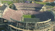MS AERIAL Shot of mascot on football field with Beaver Stadium at Pennsylvania State University / University Park, Pennsylvania, United States