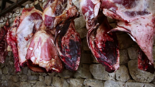MS Shot of Meat hanging from hook in slaughter house in Namchee Bazarre / Namche, Nepal