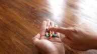 Shot of medical capsules