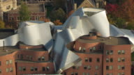 MS TS ZO AERIAL Shot of metal roof top of Peter B Lewis Building at Weather head School of Management / Cleveland, Ohio, United States