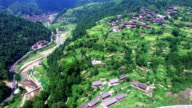 WS AERIAL shot of Miao village,Guizhou,China.