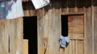 MS Shot of miners house in village / Serra Pelada, Para, Brazil