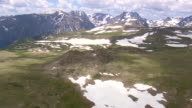 WS AERIAL Shot of mountain range at Custer National Forest area / Montana, United States