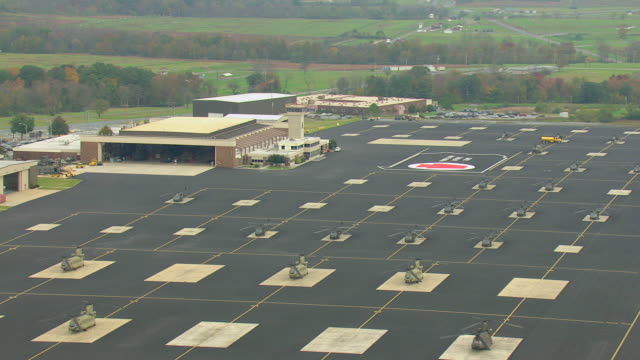 MS AERIAL DST TD Shot of Muir Army airfield / Pennsylvania, United States