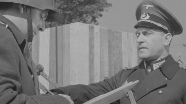CU Shot of Nazi soldier officer ordering soldier