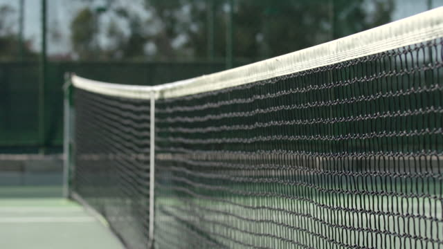Shot of net on tennis court. - Slow Motion