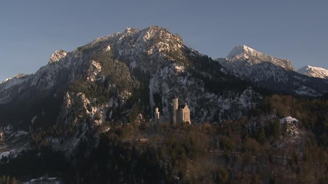 WS AERIAL Shot of New Swanstone Castle / Schwangau, Bavaria, Germany
