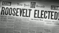 CU Shot of Newspaper headline 'Roosevelt Elected'