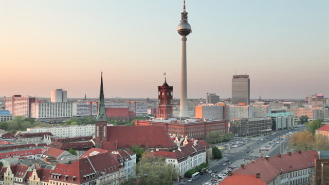 WS Shot of Nikolaikirche, Alexanderturm, Mitte, Rotes Rathaus, Muhlendamm / Berlin, Berlin, Germany