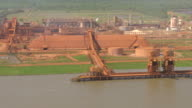 MS AERIAL Shot of noranda aluminum refinery at Mississippi river / Gramercy, Louisiana, United States