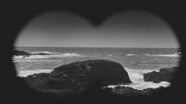 MS Shot of ocean through binocular