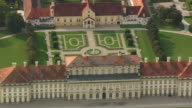 MS AERIAL Shot of old castle Oberschleissheim at Lustheim / Germany