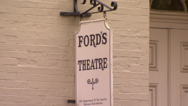 MS Shot of Old fords theatre sign hanging on wall / Washington, District of Columbia, United States