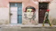 MS Shot of Old Havana with Pedestrians / Havana, Cuba