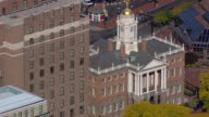 MS AERIAL TS Shot of Old State House in city / Connecticut, United States