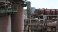 MS Shot of old steel mill at world heritage site Volklinger Hutte / Volklingen, Saarland, Germany
