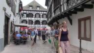 MS Shot of old town of Petite France / Strasbourg, Alsace, France