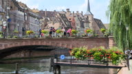 MS Shot of Old town Petite France, river ILL / Strasbourg, Alsace, France