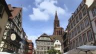 MS HA Shot of Old town Petite France, Rue du Maroquin / Strasbourg, Alsace, France