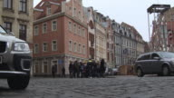 MS LA Shot of Old Town with people / Riga, Latvia