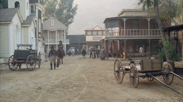 MS PAN Shot of old west town street, general activities