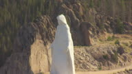 MS AERIAL Shot of Our Lady of the Rockies statue in mountain side / Butte, Montana, United States