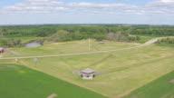 CU AERIAL LA TU TD Shot of Over field to reveal Fort Abercrombie / North Dakota, United States