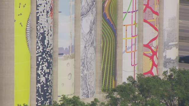 CU AERIAL TS ZO Shot of Painted grain elevators to reveal entire elevators / Omaha, Nebraska, United States