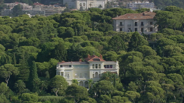 MS AERIAL Shot of Palace / Monaco, France