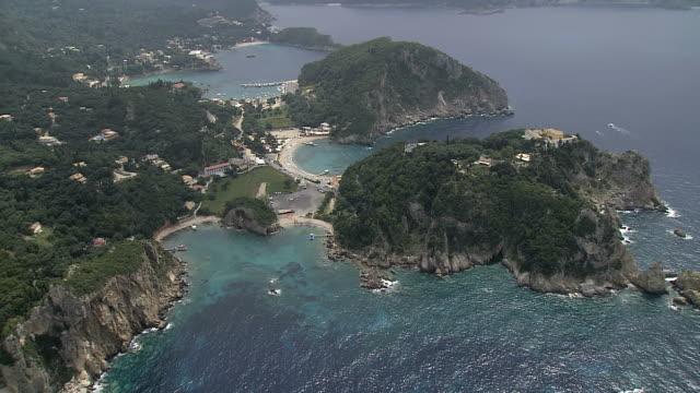 WS AERIAL Shot of Paleokastritza castle in Corfu Island / Corfu, Ionian Islands, Greece