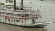 CU AERIAL ZO Shot of passengers on steamboat natchez on river / Louisiana, United States