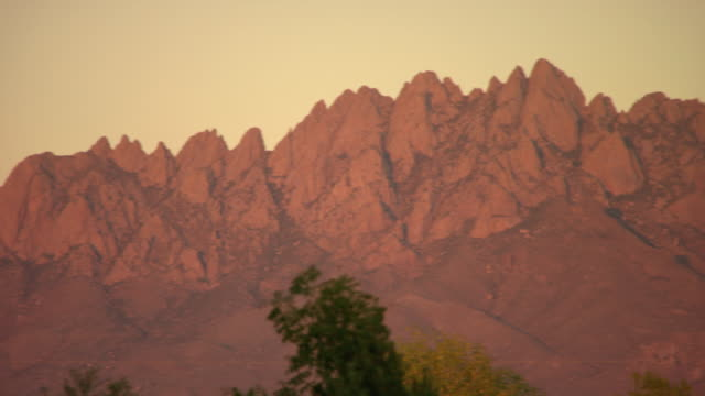 MS PAN Shot of Peaks of Organ Mountains during sunset / Las Cruces, New Mexico, United States