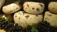 CU Shot of Pecorino cheese in delicacy shop / Pienza, Tuscany, Italy