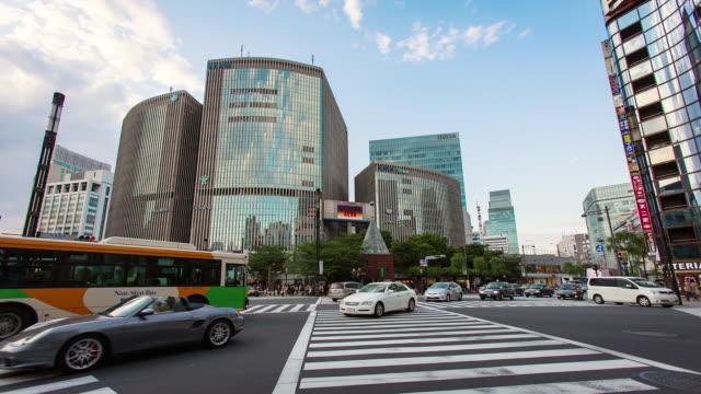 MS T/L Shot of pedestrian crossing in Higashi Ginza / Tokyo, Japan