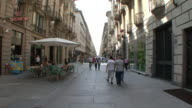MS Shot of Pedestrian only shopping street with strollers / Turin, Piedmont, Italy