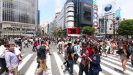 MS PAN Shot of pedestrians and cars crossing at Shibuya Crossing / Shibuya ku, Tokyo, Japan