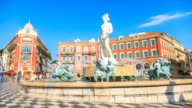 MS T/L Shot of people at fountain at place massena / Nice, Provence Alpes Cote d'Azur, France